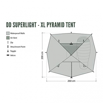 DD superleichtes Pyramidenzelt XL extra groß olivgrün - Zweimannzelt, Aussenzelt ohne Zeltboden - 9
