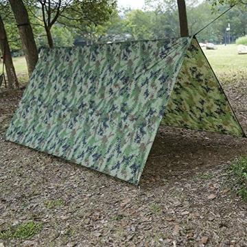 Doofang Camping Hammock Plane, Zeltplane, Tent Tarp, Train Trap, 3m x 3m, Wasserdicht Ultra-Leicht Sonnenschutz UV Schutz Regenschutz Camping Backpacking - 3