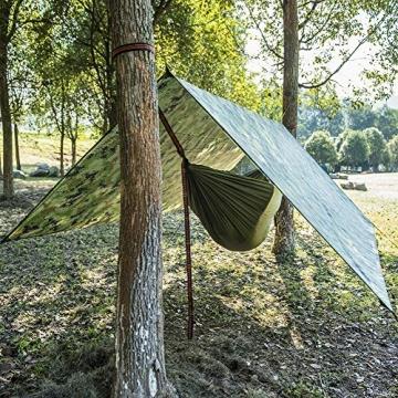 Doofang Camping Hammock Plane, Zeltplane, Tent Tarp, Train Trap, 3m x 3m, Wasserdicht Ultra-Leicht Sonnenschutz UV Schutz Regenschutz Camping Backpacking - 4