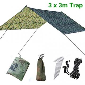 Doofang Camping Hammock Plane, Zeltplane, Tent Tarp, Train Trap, 3m x 3m, Wasserdicht Ultra-Leicht Sonnenschutz UV Schutz Regenschutz Camping Backpacking - 1