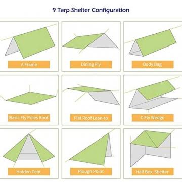 Doofang Camping Hammock Plane, Zeltplane, Tent Tarp, Train Trap, 3m x 3m, Wasserdicht Ultra-Leicht Sonnenschutz UV Schutz Regenschutz Camping Backpacking - 5