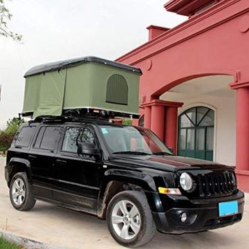 Fahrzeugzelt Harte Schale Dachzelt Autodachzelt 2-3 Leute, Mit Faltleiter aus Aluminiumlegierung, Grünes Zelt + Schwarze Schale - 3