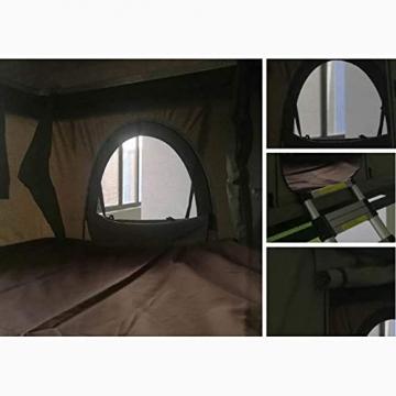 Fahrzeugzelt Harte Schale Dachzelt Autodachzelt 2-3 Leute, Mit Faltleiter aus Aluminiumlegierung, Grünes Zelt + Schwarze Schale - 4