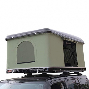 Fahrzeugzelt Harte Schale Dachzelt Autodachzelt 2-3 Leute, Mit Faltleiter aus Aluminiumlegierung, Grünes Zelt + Schwarze Schale - 6