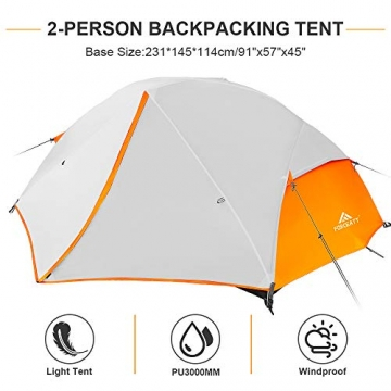 Forceatt Zelt 2 Personen Camping Zelt, 2 Doors Wasserdicht & Winddicht & Insektensicher 3-4 Saison Ultraleichte Rucksack Zelt für Trekking, Camping, Outdoor. - 2