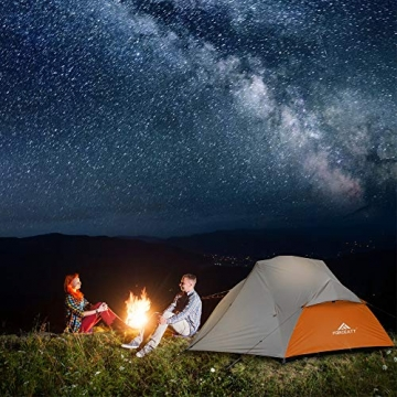 Forceatt Zelt 2 Personen Camping Zelt, 2 Doors Wasserdicht & Winddicht & Insektensicher 3-4 Saison Ultraleichte Rucksack Zelt für Trekking, Camping, Outdoor. - 4