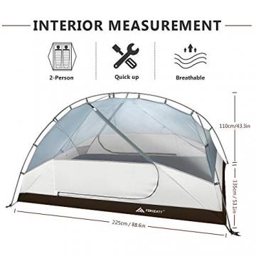 Forceatt Zelt 2 Personen Camping Zelt, 2 Doors Wasserdicht & Winddicht & Insektensicher 3-4 Saison Ultraleichte Rucksack Zelt für Trekking, Camping, Outdoor. - 6