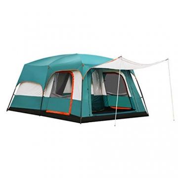 Freetrekker Großes Zelt Familienzelt 8-10 Personen Festivalzelt Steilwandzelt Hauszelt Kuppelzelt Campingzelt Gruppenzelt Wasserdicht WS 6.000 mm (blau) - 2