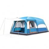 Freetrekker Großes Zelt Familienzelt 8-10 Personen Festivalzelt Steilwandzelt Hauszelt Kuppelzelt Campingzelt Gruppenzelt Wasserdicht WS 6.000 mm (blau) - 1