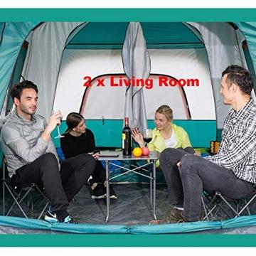 Freetrekker Großes Zelt Familienzelt 8-10 Personen Festivalzelt Steilwandzelt Hauszelt Kuppelzelt Campingzelt Gruppenzelt Wasserdicht WS 6.000 mm (blau) - 4