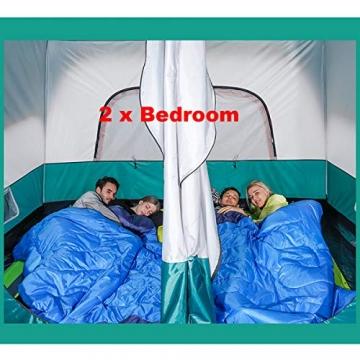 Freetrekker Großes Zelt Familienzelt 8-10 Personen Festivalzelt Steilwandzelt Hauszelt Kuppelzelt Campingzelt Gruppenzelt Wasserdicht WS 6.000 mm (blau) - 5