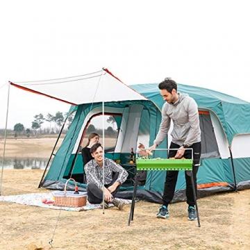 Freetrekker Großes Zelt Familienzelt 8-10 Personen Festivalzelt Steilwandzelt Hauszelt Kuppelzelt Campingzelt Gruppenzelt Wasserdicht WS 6.000 mm (blau) - 6