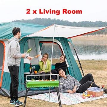 Freetrekker Großes Zelt Familienzelt 8-10 Personen Festivalzelt Steilwandzelt Hauszelt Kuppelzelt Campingzelt Gruppenzelt Wasserdicht WS 6.000 mm (blau) - 7