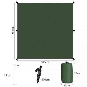 GEEDIAR Zeltplane Wasserdicht, 3x3m-PU3000mm Regen Fliegen Sonnenschutz für Zelt, Anti-UV, Leichte Tragbare für Camping, Reisen, Hängematten Zelt Tarp - 2