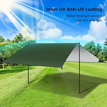 GEEDIAR Zeltplane Wasserdicht, 3x3m-PU3000mm Regen Fliegen Sonnenschutz für Zelt, Anti-UV, Leichte Tragbare für Camping, Reisen, Hängematten Zelt Tarp - 4