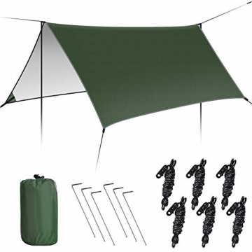 GEEDIAR Zeltplane Wasserdicht, 3x3m-PU3000mm Regen Fliegen Sonnenschutz für Zelt, Anti-UV, Leichte Tragbare für Camping, Reisen, Hängematten Zelt Tarp - 1