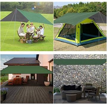 GEEDIAR Zeltplane Wasserdicht, 3x3m-PU3000mm Regen Fliegen Sonnenschutz für Zelt, Anti-UV, Leichte Tragbare für Camping, Reisen, Hängematten Zelt Tarp - 5
