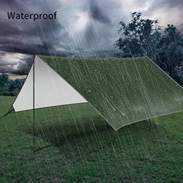 GEEDIAR Zeltplane Wasserdicht, 3x3m-PU3000mm Regen Fliegen Sonnenschutz für Zelt, Anti-UV, Leichte Tragbare für Camping, Reisen, Hängematten Zelt Tarp - 6