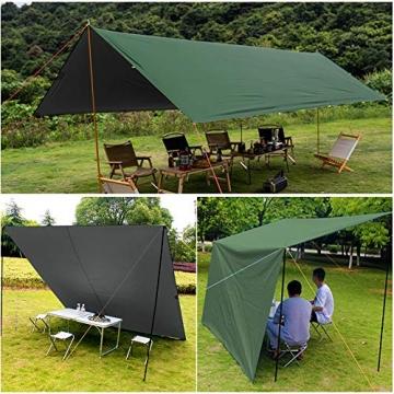GEEDIAR Zeltplane Wasserdicht, 3x3m-PU3000mm Regen Fliegen Sonnenschutz für Zelt, Anti-UV, Leichte Tragbare für Camping, Reisen, Hängematten Zelt Tarp - 7