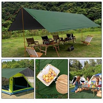 GEEDIAR Zeltplane Wasserdicht, 3x3m-PU3000mm Regen Fliegen Sonnenschutz für Zelt, Anti-UV, Leichte Tragbare für Camping, Reisen, Hängematten Zelt Tarp - 8