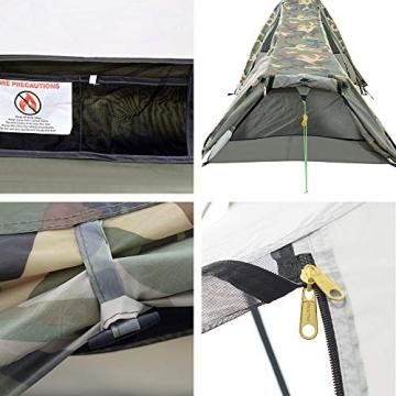 GEERTOP Bivvy Biwaksack Trekkingzelt Campingzelt Zelt Minipack Leicht - 213 x 101 x 91 cm H (1,5kg) -1 Person 3 bis 4 Jahreszeiten für Outdoor-Camping Wandern Reisen und Klettern (Camouflage) - 2