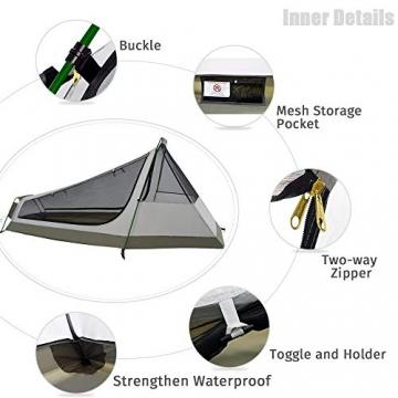 GEERTOP Bivvy Biwaksack Trekkingzelt Campingzelt Zelt Minipack Leicht - 213 x 101 x 91 cm H (1,5kg) -1 Person 3 bis 4 Jahreszeiten für Outdoor-Camping Wandern Reisen und Klettern (Camouflage) - 3