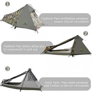 GEERTOP Bivvy Biwaksack Trekkingzelt Campingzelt Zelt Minipack Leicht - 213 x 101 x 91 cm H (1,5kg) -1 Person 3 bis 4 Jahreszeiten für Outdoor-Camping Wandern Reisen und Klettern (Camouflage) - 4