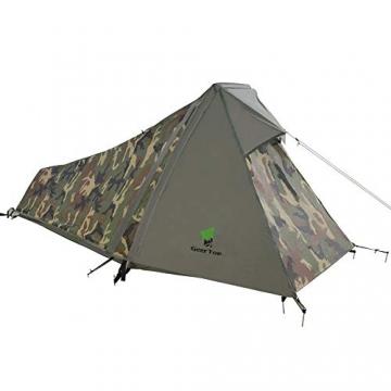 GEERTOP Bivvy Biwaksack Trekkingzelt Campingzelt Zelt Minipack Leicht - 213 x 101 x 91 cm H (1,5kg) -1 Person 3 bis 4 Jahreszeiten für Outdoor-Camping Wandern Reisen und Klettern (Camouflage) - 1