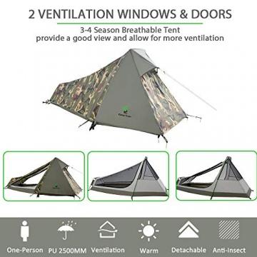 GEERTOP Bivvy Biwaksack Trekkingzelt Campingzelt Zelt Minipack Leicht - 213 x 101 x 91 cm H (1,5kg) -1 Person 3 bis 4 Jahreszeiten für Outdoor-Camping Wandern Reisen und Klettern (Camouflage) - 5