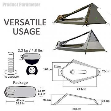 GEERTOP Bivvy Biwaksack Trekkingzelt Campingzelt Zelt Minipack Leicht - 213 x 101 x 91 cm H (1,5kg) -1 Person 3 bis 4 Jahreszeiten für Outdoor-Camping Wandern Reisen und Klettern (Camouflage) - 6