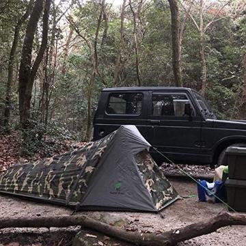 GEERTOP Bivvy Biwaksack Trekkingzelt Campingzelt Zelt Minipack Leicht - 213 x 101 x 91 cm H (1,5kg) -1 Person 3 bis 4 Jahreszeiten für Outdoor-Camping Wandern Reisen und Klettern (Camouflage) - 7