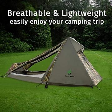GEERTOP Bivvy Biwaksack Trekkingzelt Campingzelt Zelt Minipack Leicht - 213 x 101 x 91 cm H (1,5kg) -1 Person 3 bis 4 Jahreszeiten für Outdoor-Camping Wandern Reisen und Klettern (Camouflage) - 8