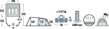 High Peak Tunnelzelt Atmos 3, Campingzelt mit Zeltboden, Trekkingzelt für 3 Personen, 2 Eingänge, doppelwandig, 4.000 mm wasserdicht, Ventilationssystem, Moskito- und Klarsicht-Fenster, windstabil - 5