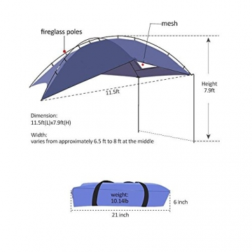 HUKOER Autokonto Outdoor Camping Camping Familie Auto Tail Konto Auto Seite Konto Zelte Heckklappe für das Auto, für Camping und Familie, Sommer Camping Zelt Schatten Zelt Auto Zelt 350 * 240 * 105 - 7