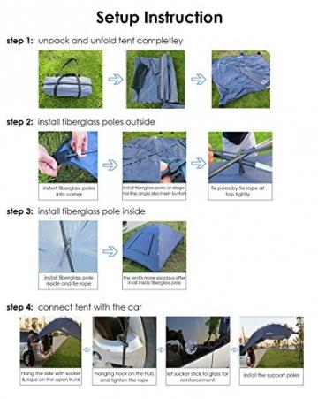 HUKOER Autokonto Outdoor Camping Camping Familie Auto Tail Konto Auto Seite Konto Zelte Heckklappe für das Auto, für Camping und Familie, Sommer Camping Zelt Schatten Zelt Auto Zelt 350 * 240 * 105 - 8