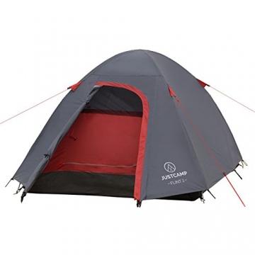 JUSTCAMP Campingzelt Flint 2, Leichtes 2 Personen Kuppelzelt, Kompakt, 3,12 kg, Igluzelt - grau - 4