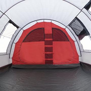 JUSTCAMP Familienzelt Atlanta 5, Tunnelzelt für 5 Personen mit Vordach, Eingenähter Boden - grau, Kuppelzelt - 2