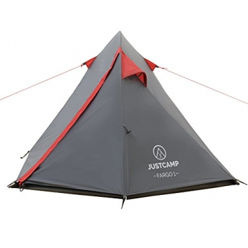 JUSTCAMP Fargo 1, 1-2 Mann Zelt, Tunnelzelt, Leicht (2700g), Kleines Packmaß, Campingzelt, Zelt für Festival, Trekkingtour - 2