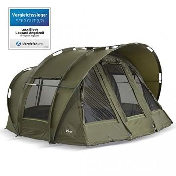Lucx® Leopard Angelzelt 2 bis 3 Mann Bivvy Karpfenzelt - Carp Dome - Fishing Tent - Campingzelt 2 bis 3 Personen Anglerzelt - 6