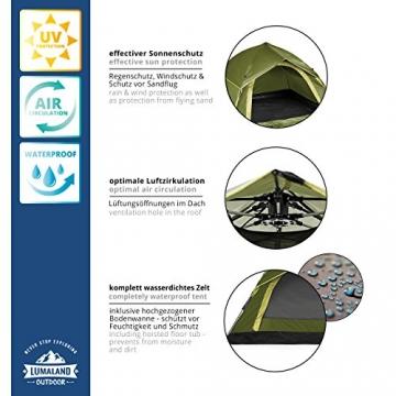 Lumaland Outdoor leichtes Pop Up Wurfzelt 3 Personen Zelt Camping Festival etc. 210 x 190 x 110 cm robust Grün - 3