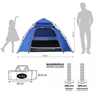 Lumaland Outdoor Pop Up Kuppelzelt Wurfzelt 3 Personen Zelt Camping Festival etc. 215 x 195 x 120 cm robust Blau - 3