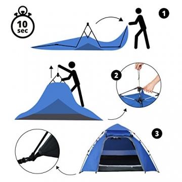 Lumaland Outdoor Pop Up Kuppelzelt Wurfzelt 3 Personen Zelt Camping Festival etc. 215 x 195 x 120 cm robust Blau - 6