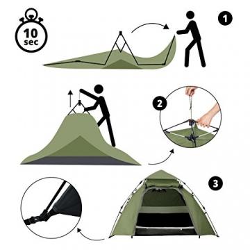 Lumaland Outdoor Pop Up Kuppelzelt Wurfzelt 3 Personen Zelt Camping Festival etc. 215 x 195 x 120 cm robust Grün - 5