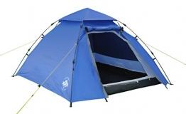 Lumaland Outdoor Pop Up Kuppelzelt Wurfzelt 3 Personen Zelt Camping Festival etc. 215 x 195 x 120 cm robust Blau - 1