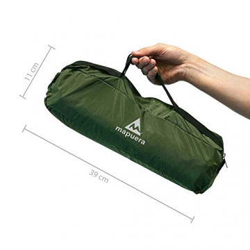 mapuera - Ultraleichtes Trekkingzelt Trek Santiago - grün, 1,25kg, kleines Packmaß, auch mit Trekkingstöcken aufstellbar - das Leichtzelt für 1 Person - 2