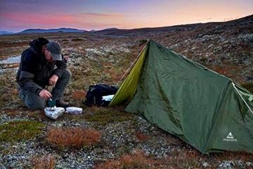 mapuera - Ultraleichtes Trekkingzelt Trek Santiago - grün, 1,25kg, kleines Packmaß, auch mit Trekkingstöcken aufstellbar - das Leichtzelt für 1 Person - 3
