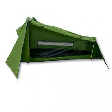 mapuera - Ultraleichtes Trekkingzelt Trek Santiago - grün, 1,25kg, kleines Packmaß, auch mit Trekkingstöcken aufstellbar - das Leichtzelt für 1 Person - 1