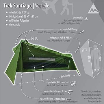 mapuera - Ultraleichtes Trekkingzelt Trek Santiago - grün, 1,25kg, kleines Packmaß, auch mit Trekkingstöcken aufstellbar - das Leichtzelt für 1 Person - 7