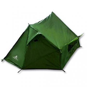 mapuera - Ultraleichtes Trekkingzelt Trek Santiago - grün, 1,25kg, kleines Packmaß, auch mit Trekkingstöcken aufstellbar - das Leichtzelt für 1 Person - 8
