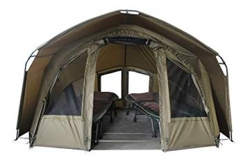 MK-Angelsport 2 Personen Karpfenzelt mit - 3,02x2,92x1,65m großes, wasserfestes Fort Knox 2.0 Angelzelt - 160cm hohe Innenkabine - temperaturstabiles Anglerzelt - 1